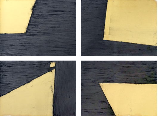 «Wandernde Ecke»4-teilig,Leinölfirnis, Graphit auf Papier,je 50 x 70 cm, Gesamt 104 x 144 cm,2014