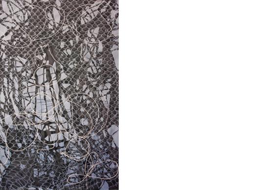 «Imperfect Barrier: Razor II»watercolor, ink, gouache on paper113 x 170 cm, 2015