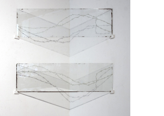 «Imperfect Barrier: Corralled»glass, oil paint, wood, plastic, spot lighteach panel 140 x 41 cm, 2014