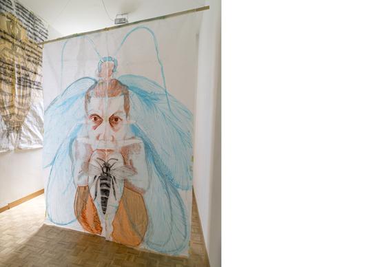 «o.T.», 2016, Tusche, Pastel, Kohle und Rörel auf Japanpapier, ca. 190 x 250 cm